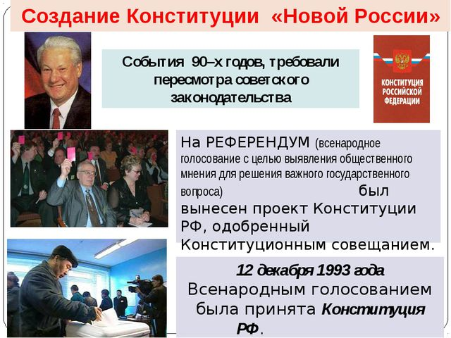 Создание Конституции «Новой России» События 90–х годов, требовали пересмотра...