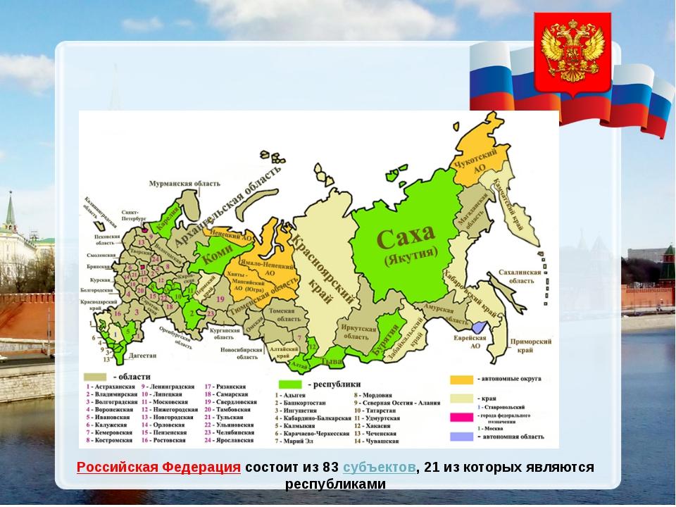 Российская Федерациясостоит из 83 субъектов, 21 из которых являются республи...