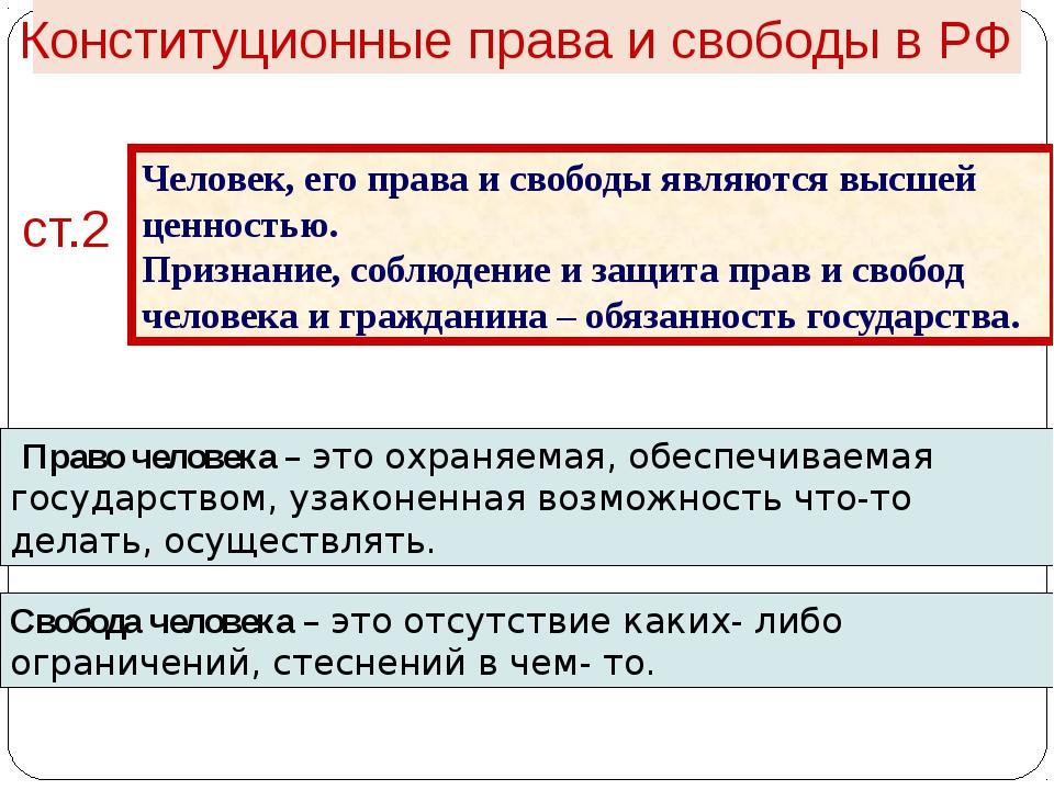 Конституционные права и свободы в РФ ст.2 Человек, его права и свободы являю...