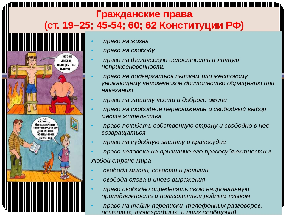 Гражданские права (ст. 19–25; 45-54; 60; 62 Конституции РФ) право на жизнь пр...