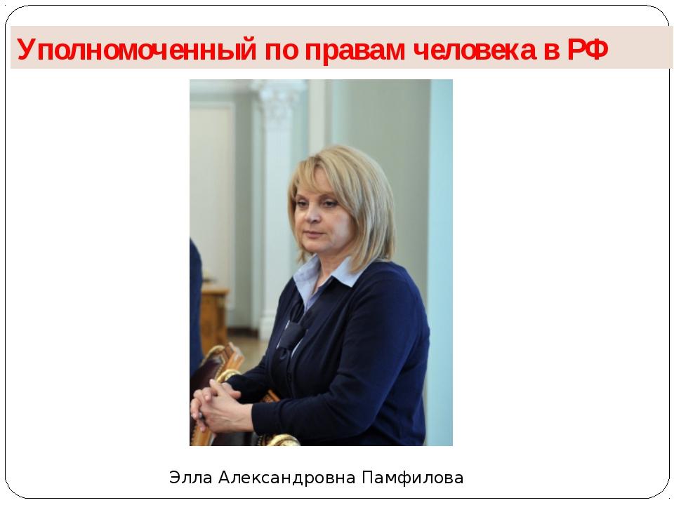 Уполномоченный по правам человека в РФ Элла Александровна Памфилова