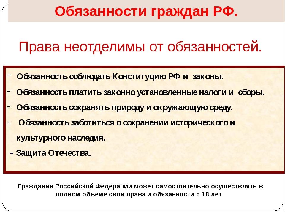 Обязанности граждан РФ. Права неотделимы от обязанностей. Обязанность соблюда...