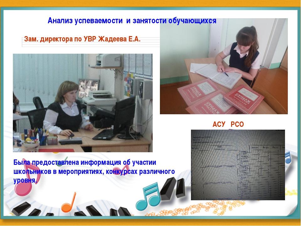 Анализ успеваемости и занятости обучающихся Зам. директора по УВР Жадеева Е....