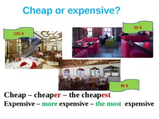 Cheap or expensive? Cheap – cheaper – the cheapest Expensive – more expensive