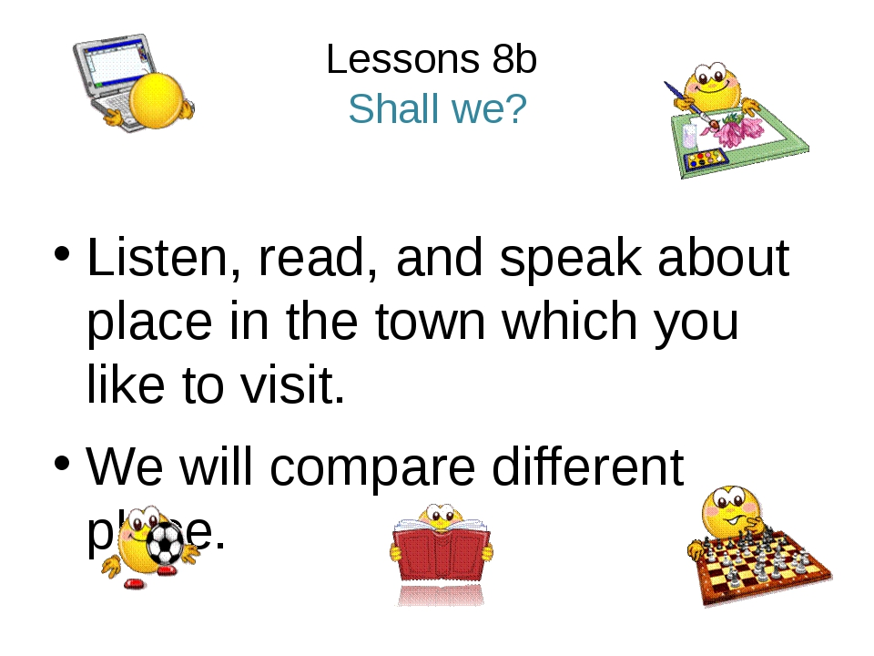 Lessons 8b Shall we? Listen, read, and speak about place in the town which yo...