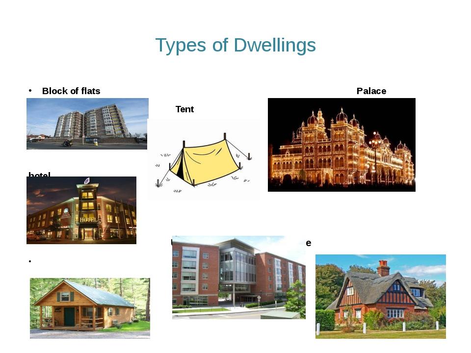 Types of Dwellings Block of flats Palace Tent hotel Hotel University halls o...