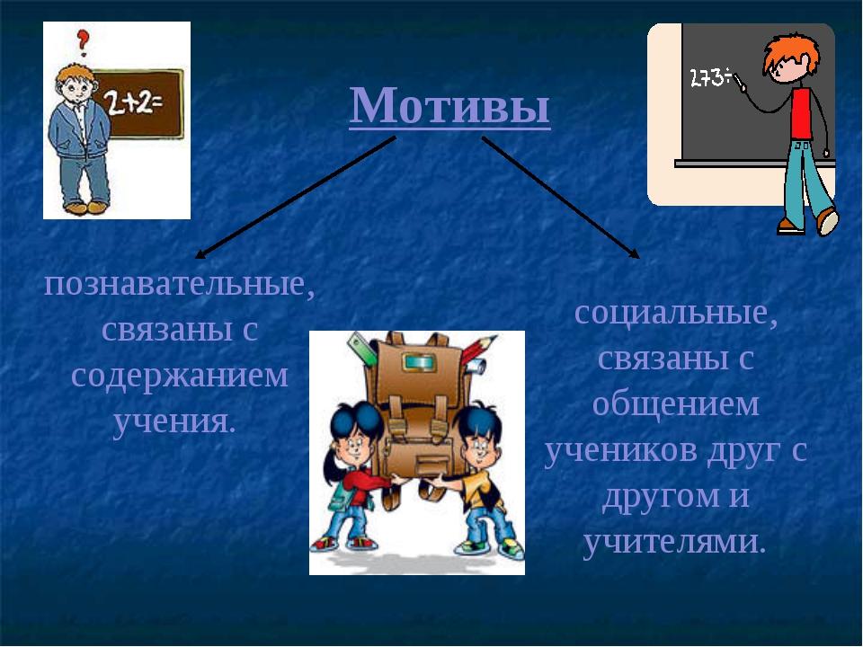 познавательные, связаны с содержанием учения. Мотивы социальные, связаны с об...