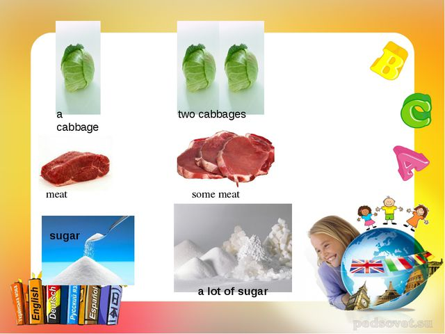 a cabbage two cabbages meat some meat sugar a lot of sugar
