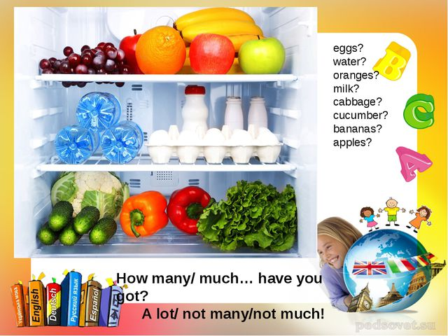 eggs? water? oranges? milk? cabbage? cucumber? bananas? apples? How many/ muc...
