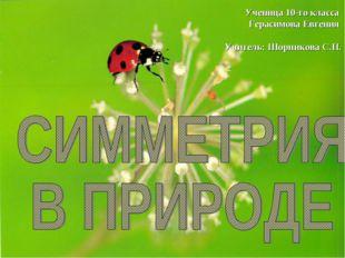 Ученица 10-го класса Герасимова Евгения Учитель: Шорникова С.П.