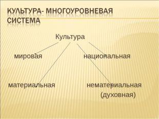 Культура мировая национальная материальная нематериальная (духовная)