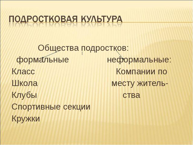 Общества подростков: формальные неформальные: Класс Компании по Школа месту...