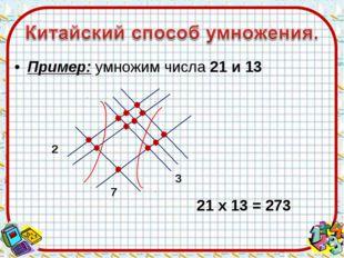 Пример: умножим числа 21 и 13 2 7 3 21 х 13 = 273