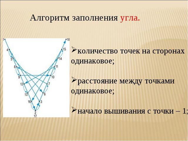 Алгоритм заполнения угла. количество точек на сторонах одинаковое; расстояние...