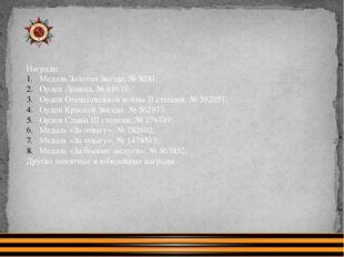 Награды: Медаль Золотая Звезда, № 8281; Орден Ленина, № 61610; Орден Отечеств