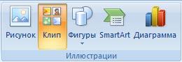 Вставка графических объектов (рисунок, клип, фигура, рисунок SmartArt, диаграмма) в документ Word 2007