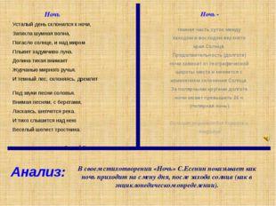 В своем стихотворении «Ночь» С.Есенин показывает как ночь приходит на смену