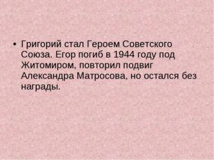 Григорий стал Героем Советского Союза. Егор погиб в 1944 году под Житомиром,