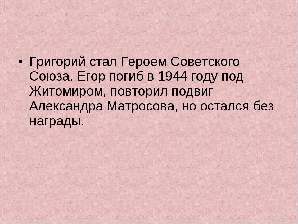 Григорий стал Героем Советского Союза. Егор погиб в 1944 году под Житомиром,...