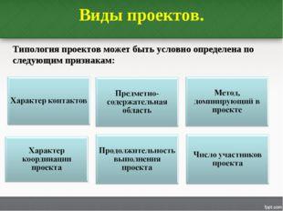 Виды проектов. Типология проектов может быть условно определена по следующим