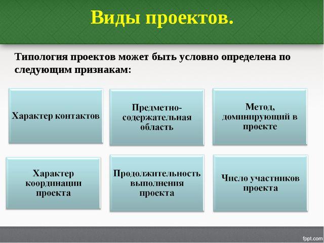Виды проектов. Типология проектов может быть условно определена по следующим...