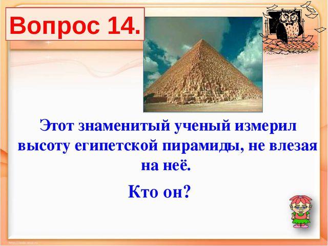 Этот знаменитый ученый измерил высоту египетской пирамиды, не влезая на неё....