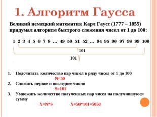Великий немецкий математик Карл Гаусс (1777 – 1855) придумал алгоритм быстрог