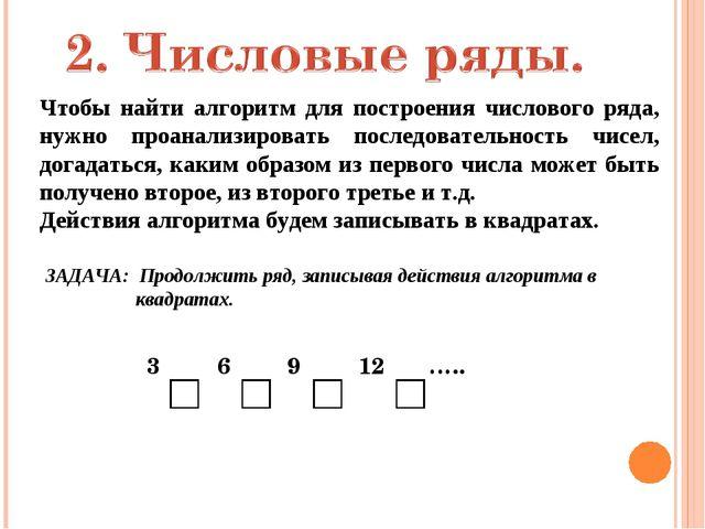 Чтобы найти алгоритм для построения числового ряда, нужно проанализировать по...