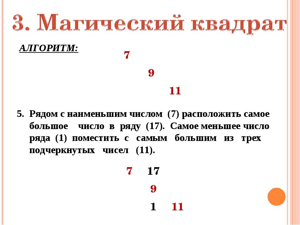 АЛГОРИТМ: 5. Рядом с наименьшим числом (7) расположить самое большое число в...