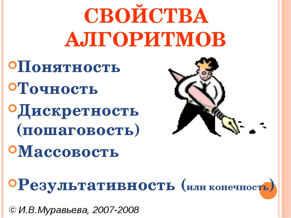 СВОЙСТВА АЛГОРИТМОВ Понятность Точность Дискретность (пошаговость) Массовость...
