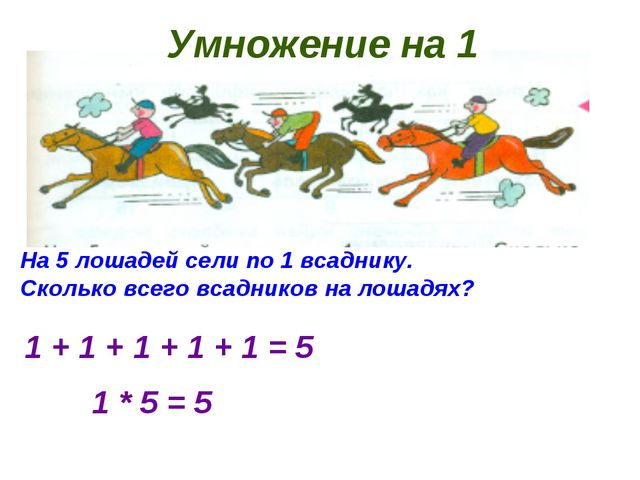 Умножение на 1 На 5 лошадей сели по 1 всаднику. Сколько всего всадников на ло...