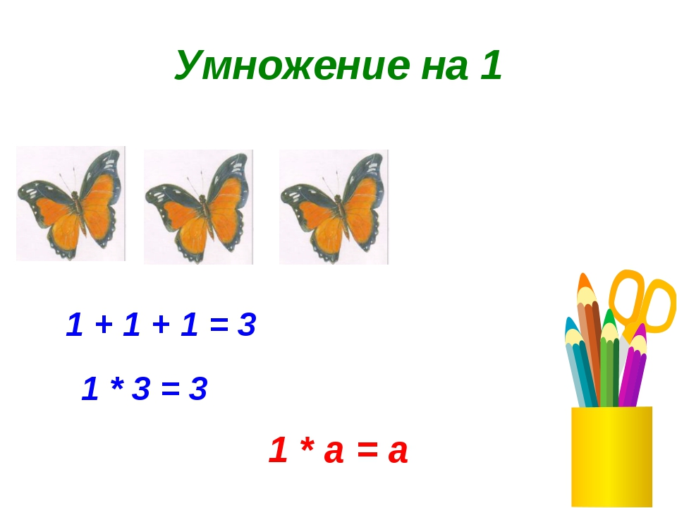 Умножение на 1 1 + 1 + 1 = 3 1 * 3 = 3 1 * а = а