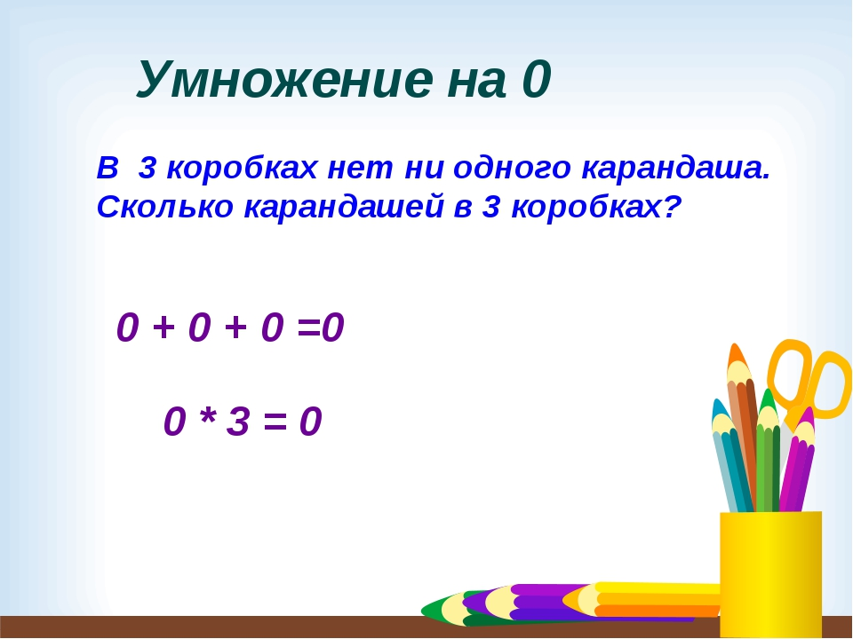 Умножение на 0 В 3 коробках нет ни одного карандаша. Сколько карандашей в 3 к...