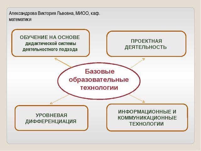 Александрова Виктория Львовна, МИОО, каф. математики Базовые образовательные...