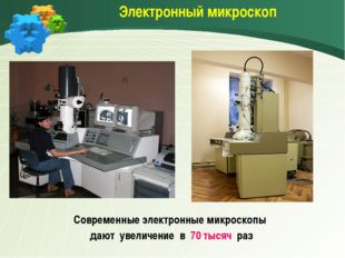 Электронный микроскоп Современные электронные микроскопы дают увеличение в 7