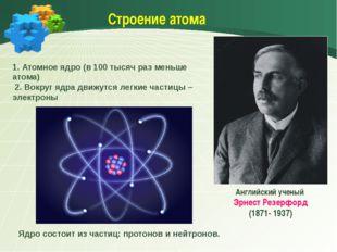 Строение атома Английский ученый Эрнест Резерфорд (1871- 1937) 1. Атомное яд