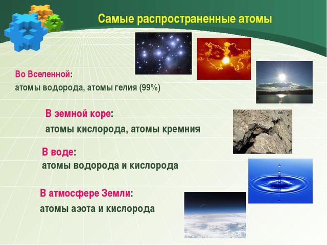 Самые распространенные атомы Во Вселенной: атомы водорода, атомы гелия (99%)...