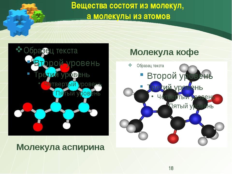 Вещества состоят из молекул, а молекулы из атомов Молекула кофе Молекула асп...