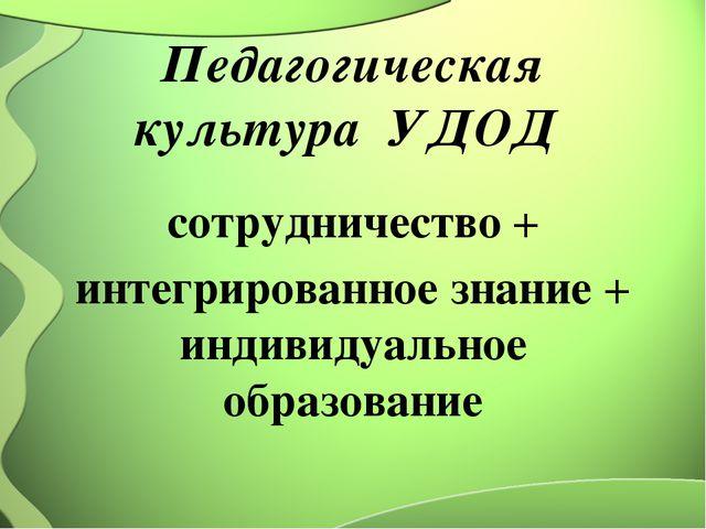 Педагогическая культура УДОД сотрудничество + интегрированное знание + индиви...
