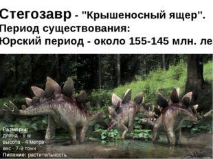"""Стегозавр- """"Крышеносный ящер"""". Период существования: Юрский период - около"""
