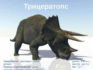 """Трицератопс Трицератопс: """"динозавр с тремя рогами"""" Период существования:коне"""
