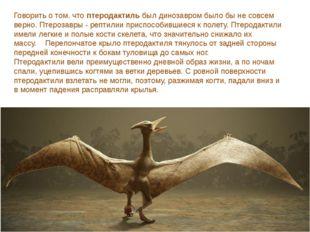 Говорить о том. чтоптеродактильбыл динозавром было бы не совсем верно. Птер