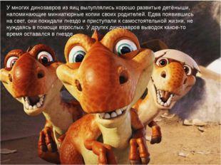 У многих динозавров из яиц вылуплялись хорошо развитые детёныши, напоминающие