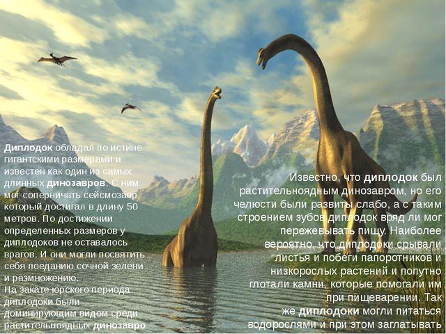 Диплодокобладал по истине гигантскими размерами и известен как один из самых...
