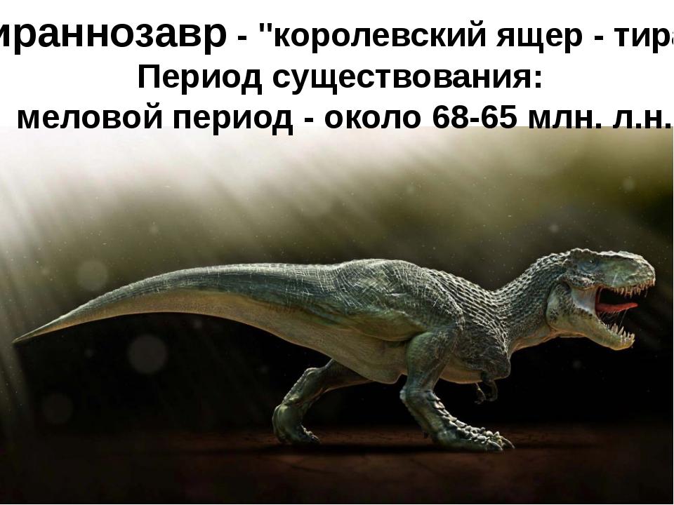 """Тираннозавр- """"королевский ящер - тиран"""" Период существования: меловой перио..."""