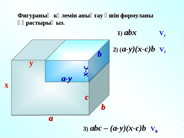 Фигураның көлемін анықтау үшін формуланы құрастырыңыз. y c x a b 1) abx V1 2)...