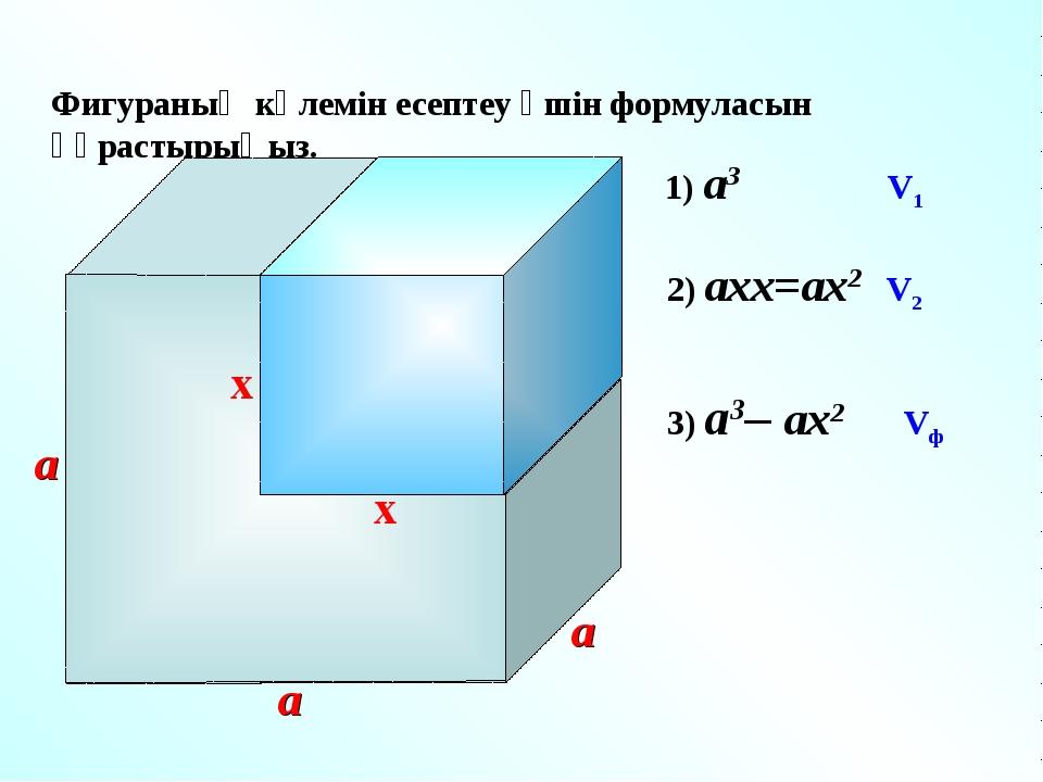 Фигураның көлемін есептеу үшін формуласын құрастырыңыз. x a a x 1) a3 V1 a 2...