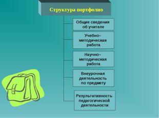 Структура портфолио Результативность педагогической деятельности Внеурочная д