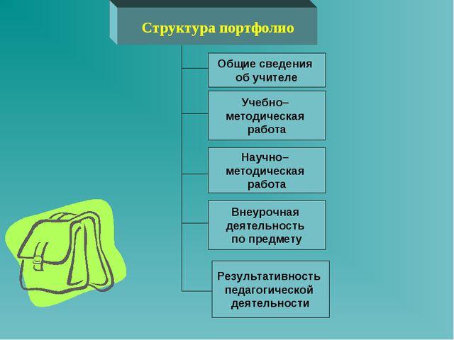 Структура портфолио Результативность педагогической деятельности Внеурочная д...