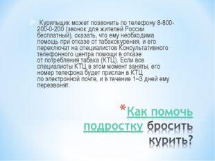Курильщик может позвонить потелефону8-800-200-0-200(звонок для жителей Ро